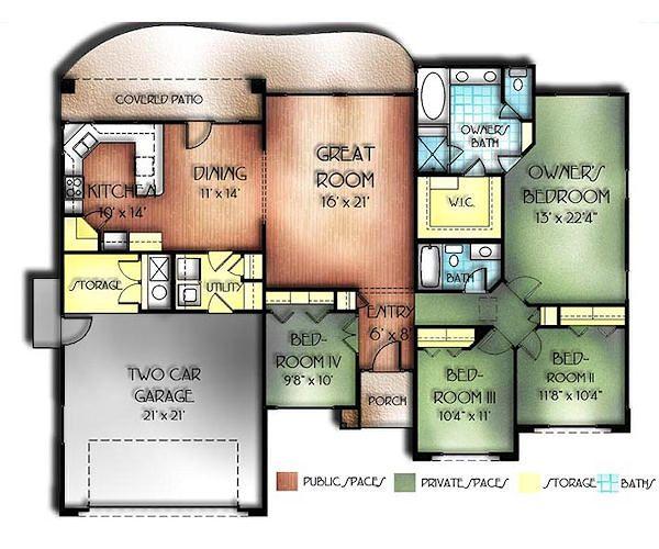 Mediterranean Floor Plan - Main Floor Plan Plan #24-166