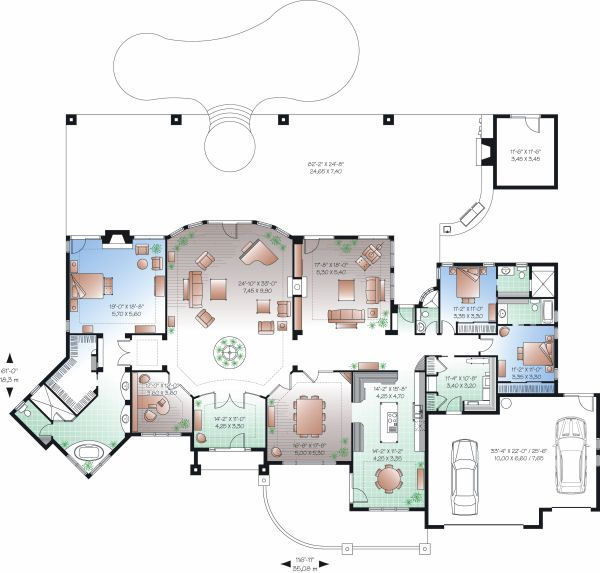European Floor Plan - Main Floor Plan Plan #23-789