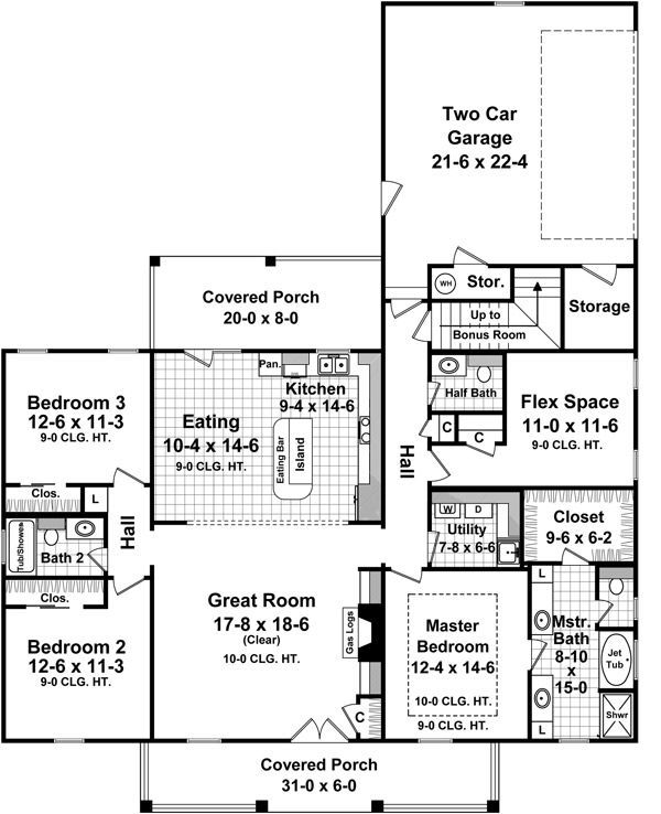Architectural House Design - Country Floor Plan - Main Floor Plan #21-368