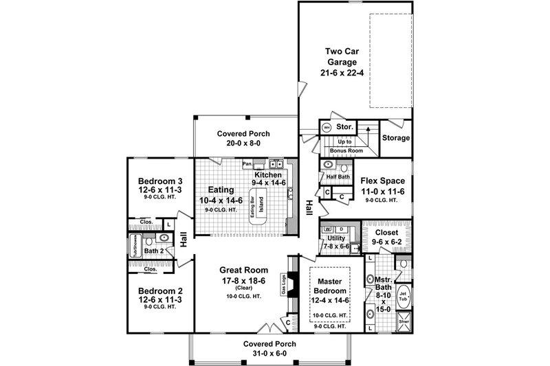 Country Floor Plan - Main Floor Plan Plan #21-368