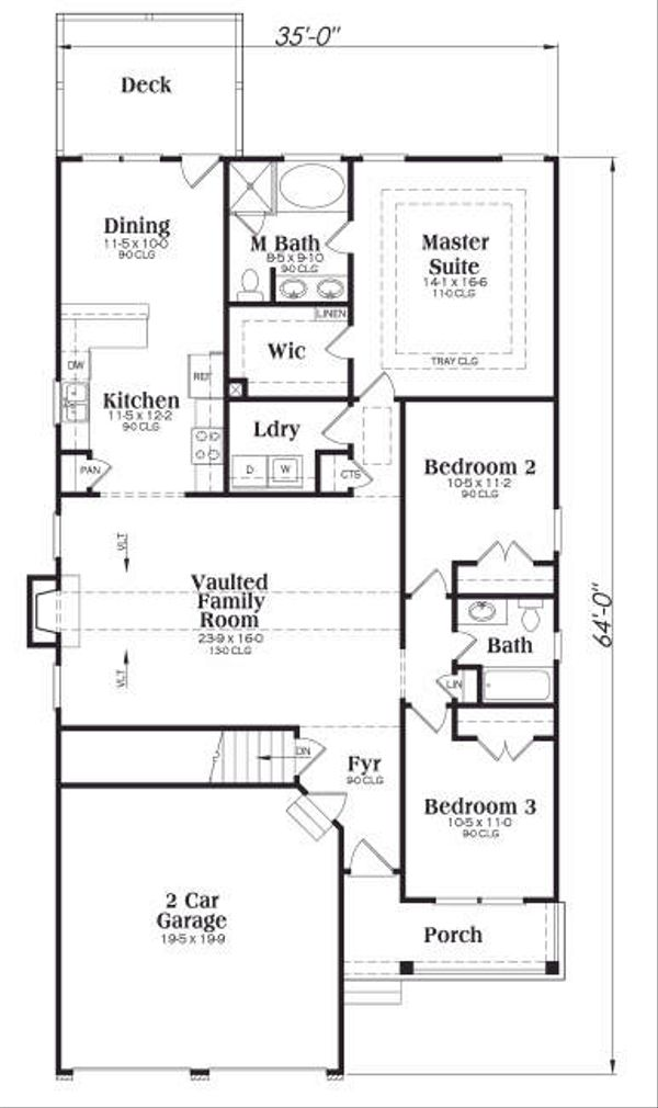 Cottage Floor Plan - Main Floor Plan Plan #419-135