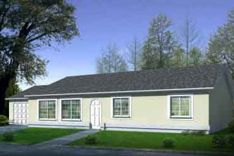 Ranch Style House Plan - 3 Beds 2 Baths 1536 Sq/Ft Plan #1-1278 Exterior - Front Elevation