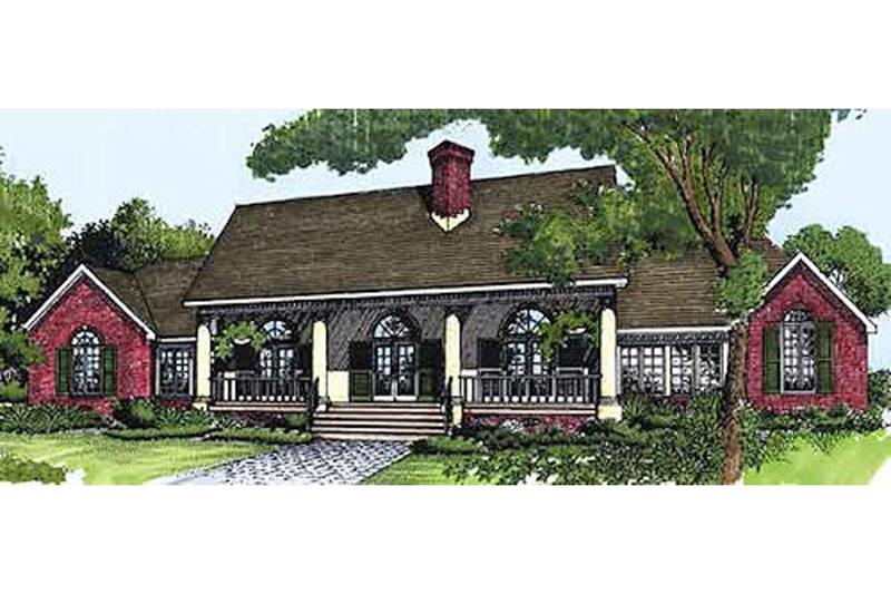 Farmhouse Style House Plan - 4 Beds 3 Baths 2276 Sq/Ft Plan #320-405 Exterior - Front Elevation