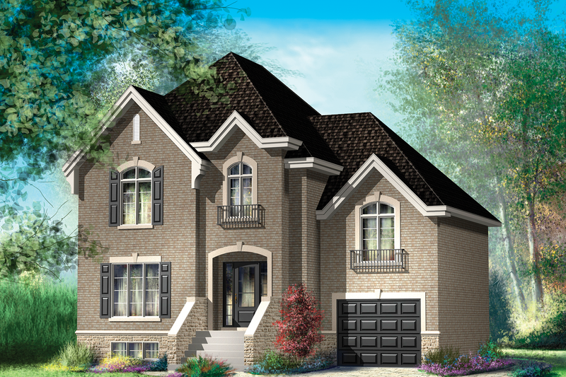 European Style House Plan - 4 Beds 1 Baths 2048 Sq/Ft Plan #25-4712 Exterior - Front Elevation