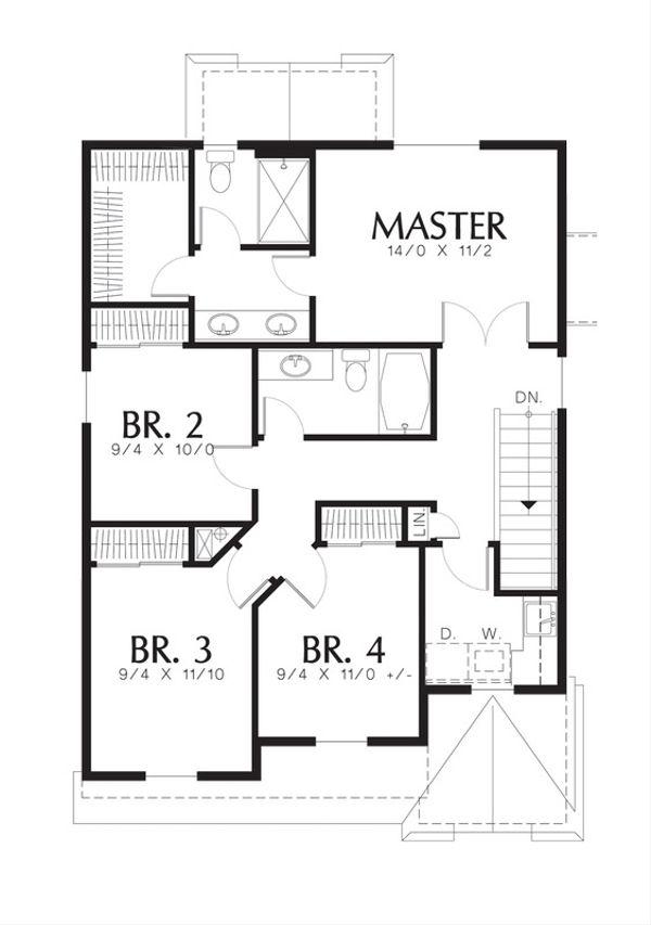 Traditional Floor Plan - Upper Floor Plan Plan #48-516