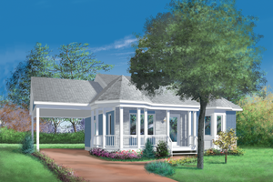 Cottage Exterior - Front Elevation Plan #25-1023