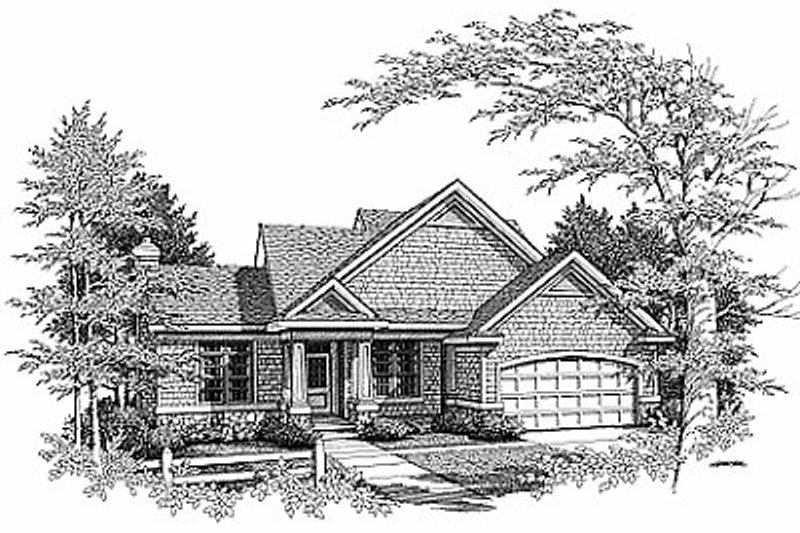 Traditional Style House Plan - 3 Beds 2.5 Baths 1883 Sq/Ft Plan #70-228 Exterior - Front Elevation