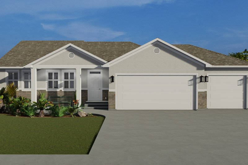 Traditional Style House Plan - 3 Beds 2 Baths 1644 Sq/Ft Plan #1060-56 Exterior - Front Elevation