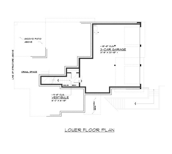 Contemporary Floor Plan - Lower Floor Plan Plan #1066-62
