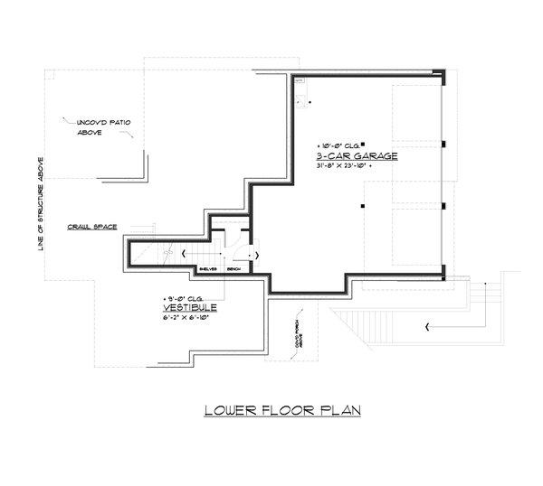 Contemporary Floor Plan - Lower Floor Plan #1066-62
