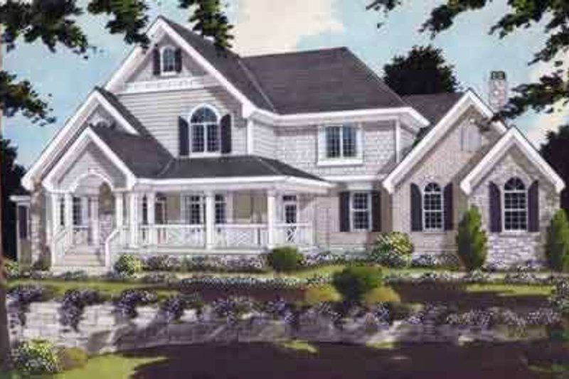 Southern Style House Plan - 4 Beds 3.5 Baths 3746 Sq/Ft Plan #46-131 Exterior - Front Elevation
