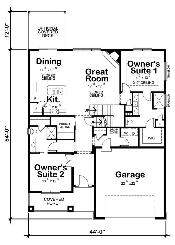 Cottage Style House Plan - 4 Beds 3 Baths 2232 Sq/Ft Plan #20-2315 Floor Plan - Main Floor Plan