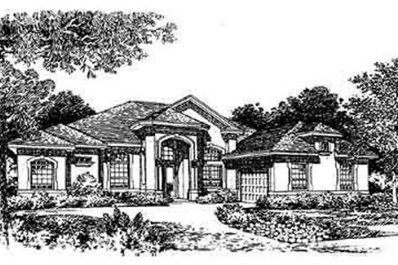 Mediterranean Style House Plan - 3 Beds 3 Baths 2523 Sq/Ft Plan #135-131 Exterior - Front Elevation