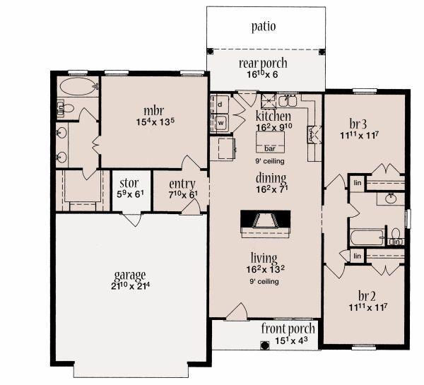 Traditional Floor Plan - Main Floor Plan Plan #36-478