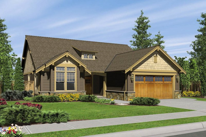 Craftsman Style House Plan - 3 Beds 2 Baths 1850 Sq/Ft Plan #48-404 Exterior - Front Elevation