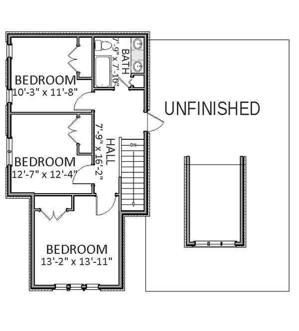 Craftsman Floor Plan - Upper Floor Plan Plan #898-23