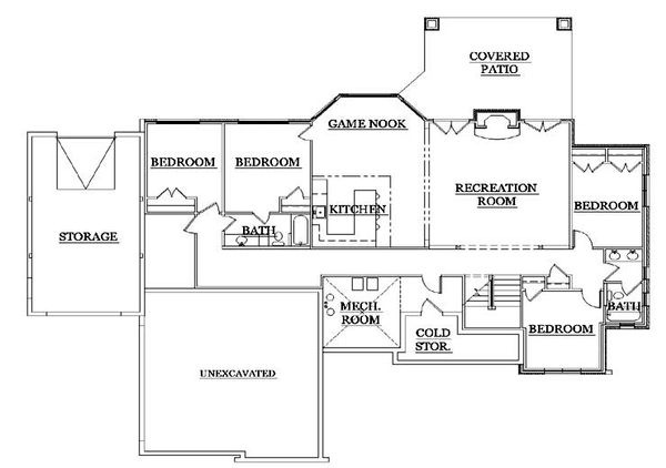 House Plan Design - European Floor Plan - Lower Floor Plan #5-278