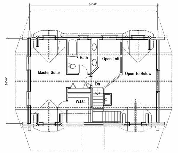 Log Floor Plan - Upper Floor Plan Plan #451-13