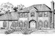 European Style House Plan - 4 Beds 3 Baths 2812 Sq/Ft Plan #47-194 Exterior - Front Elevation