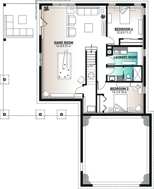 Cottage Floor Plan - Lower Floor Plan Plan #23-2680