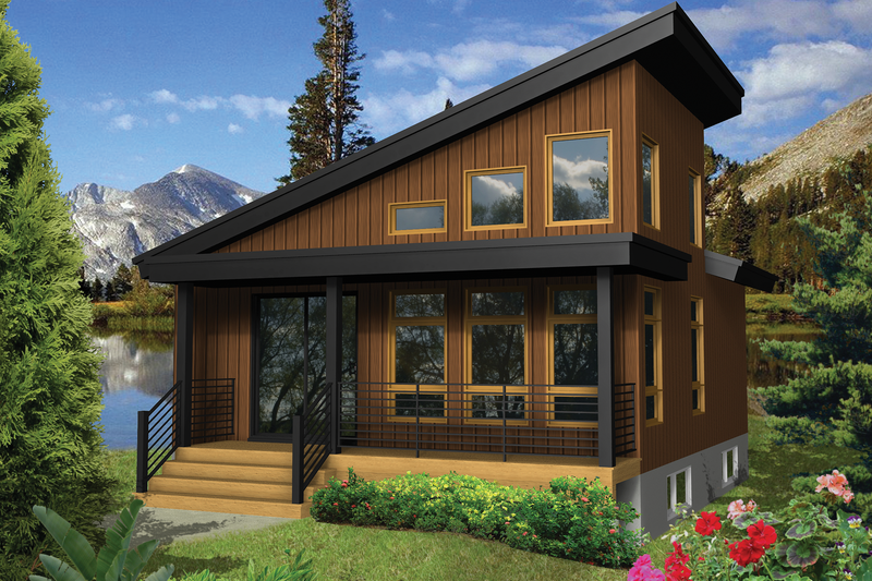 Contemporary Style House Plan - 1 Beds 1 Baths 624 Sq/Ft Plan #25-4384 Exterior - Front Elevation
