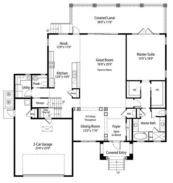Mediterranean Floor Plan - Main Floor Plan Plan #938-84