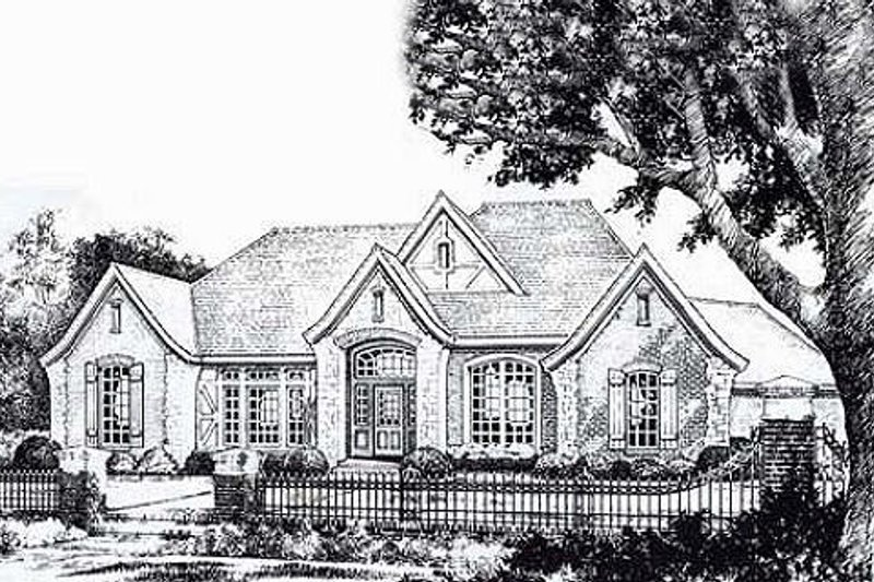 European Style House Plan - 3 Beds 2.5 Baths 2965 Sq/Ft Plan #310-866 Exterior - Front Elevation