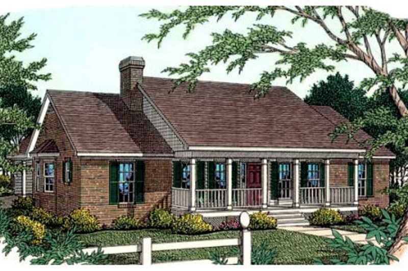 Country Exterior - Front Elevation Plan #406-220 - Houseplans.com