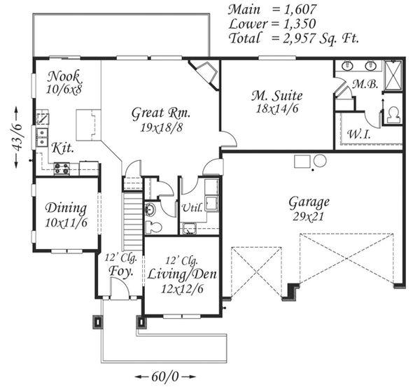 Prairie Floor Plan - Main Floor Plan Plan #509-14