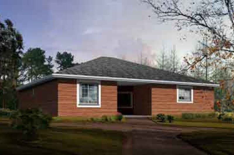 Ranch Style House Plan - 3 Beds 2 Baths 1548 Sq/Ft Plan #1-1284 Exterior - Front Elevation