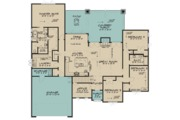 European Style House Plan - 4 Beds 3 Baths 2503 Sq/Ft Plan #17-3415 Floor Plan - Main Floor Plan
