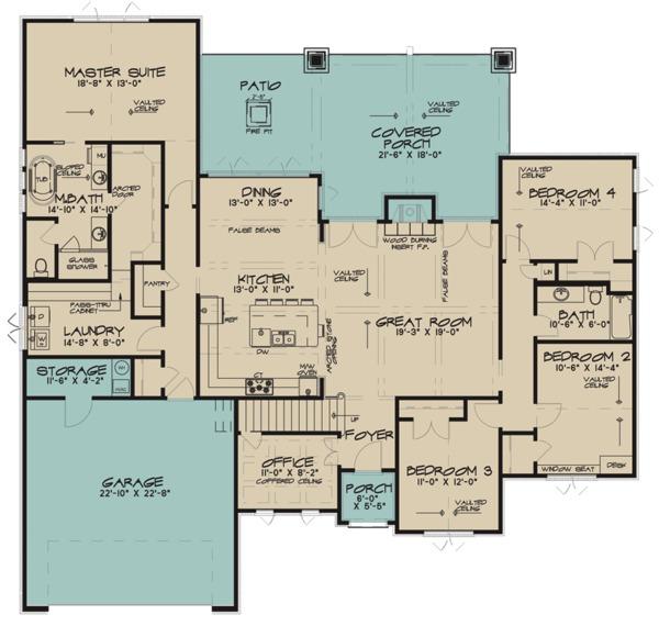 Architectural House Design - European Floor Plan - Main Floor Plan #17-3415