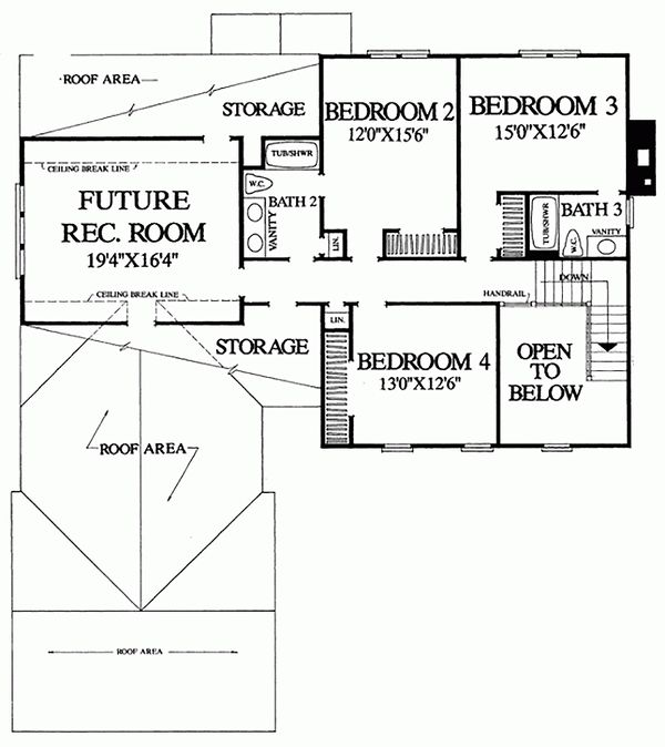 Southern Floor Plan - Upper Floor Plan Plan #137-162