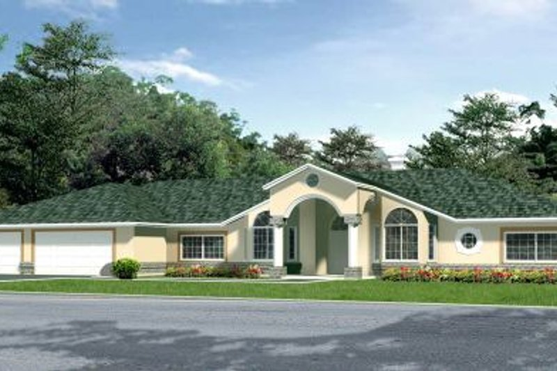 Adobe / Southwestern Style House Plan - 4 Beds 4 Baths 3400 Sq/Ft Plan #1-824 Exterior - Front Elevation