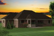 Ranch Style House Plan - 2 Beds 2 Baths 1645 Sq/Ft Plan #70-1046 Exterior - Rear Elevation