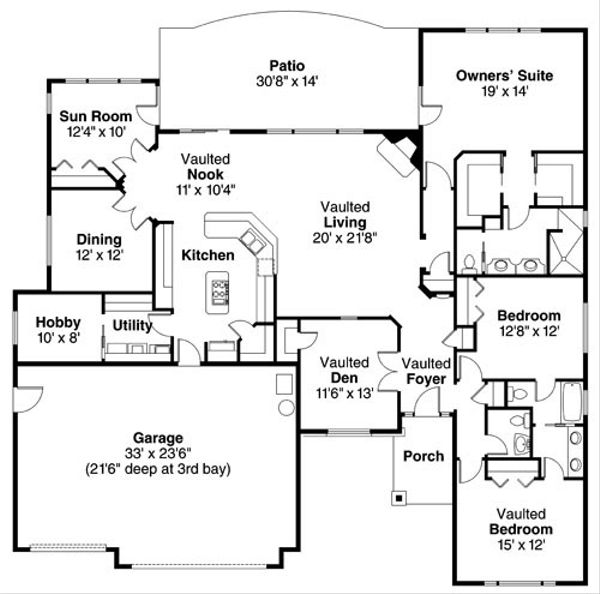 Traditional Floor Plan - Main Floor Plan Plan #124-774
