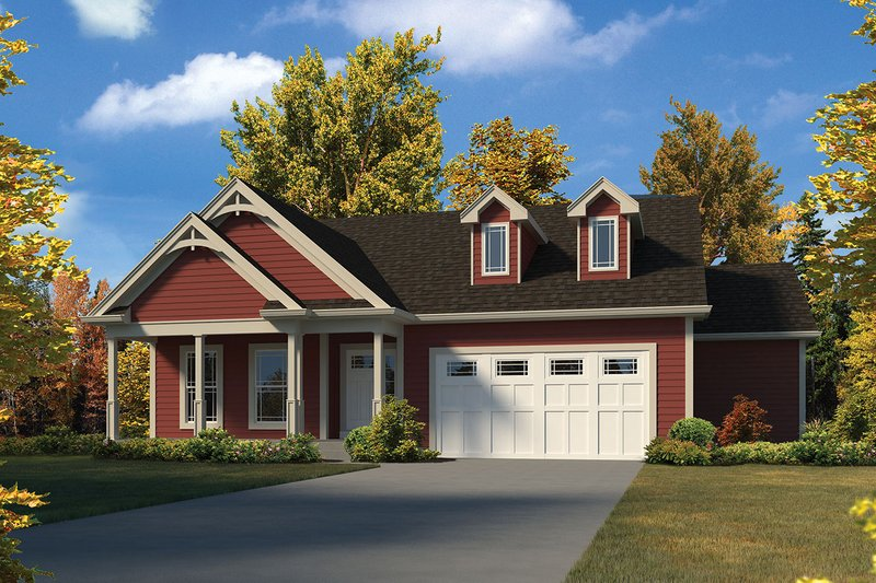 Architectural House Design - Country Exterior - Front Elevation Plan #57-645