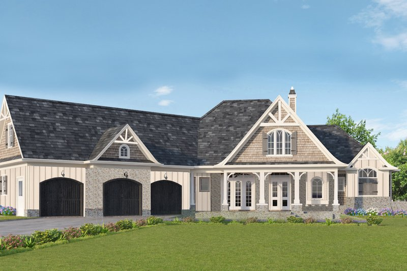 House Blueprint - Craftsman Exterior - Front Elevation Plan #54-381
