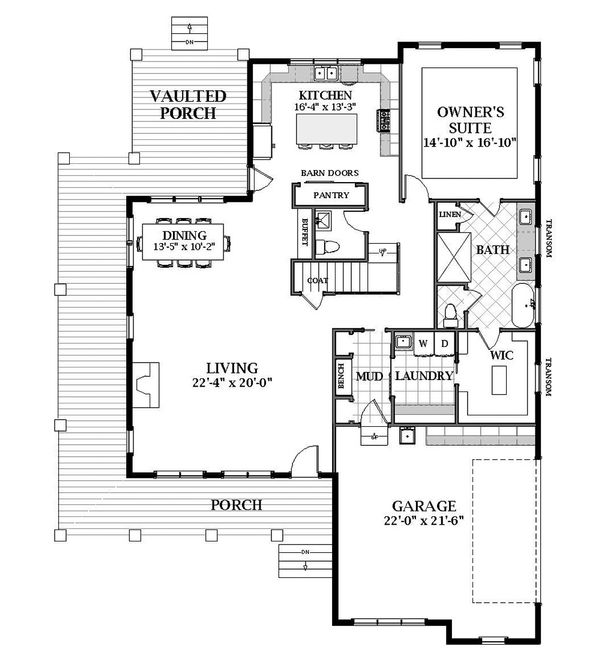 Craftsman Floor Plan - Main Floor Plan Plan #898-51