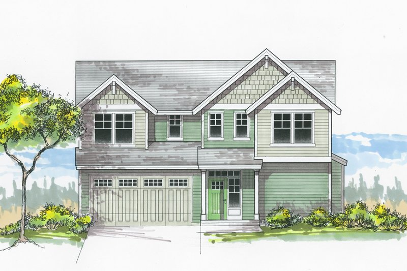 Craftsman Style House Plan - 4 Beds 2.5 Baths 1643 Sq/Ft Plan #53-604 Exterior - Front Elevation
