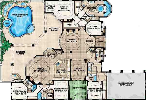 Mediterranean Floor Plan - Main Floor Plan Plan #27-273