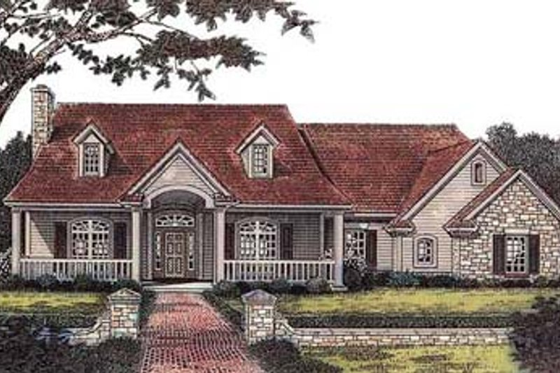 Country Style House Plan - 3 Beds 2.5 Baths 2172 Sq/Ft Plan #310-561 Exterior - Front Elevation