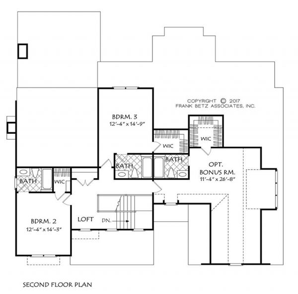 Farmhouse Floor Plan - Upper Floor Plan Plan #927-981