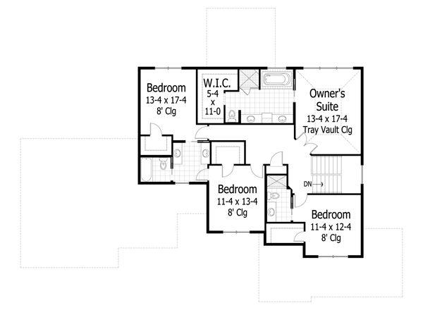 Traditional house plan, Craftsman floor plan, upper level