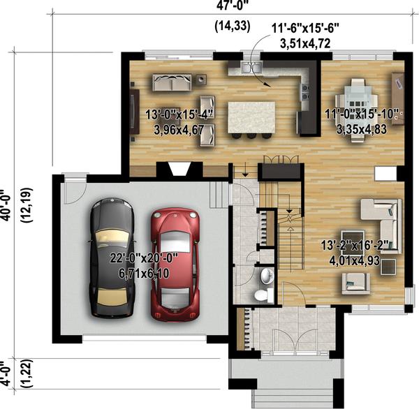 Contemporary Floor Plan - Main Floor Plan Plan #25-4481