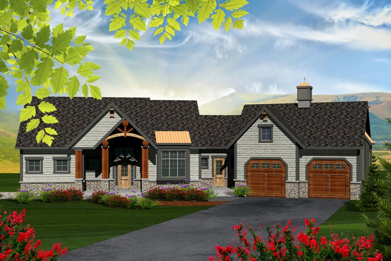 Ranch Exterior - Front Elevation Plan #70-1173