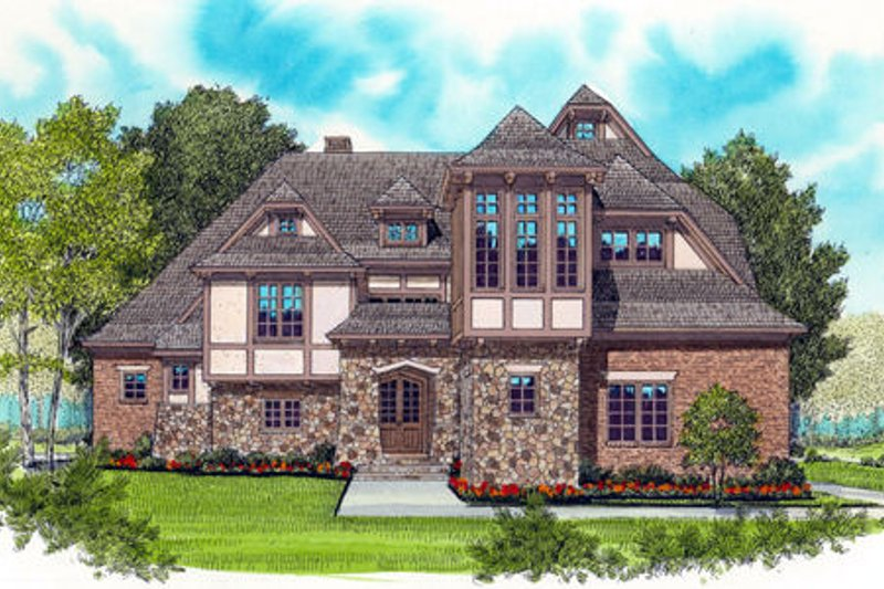 Tudor Exterior - Front Elevation Plan #413-837