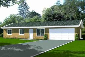 Ranch Exterior - Front Elevation Plan #1-1045