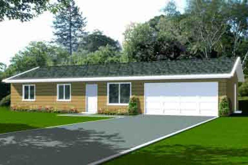 Ranch Style House Plan - 3 Beds 2 Baths 1081 Sq/Ft Plan #1-1045 Exterior - Front Elevation