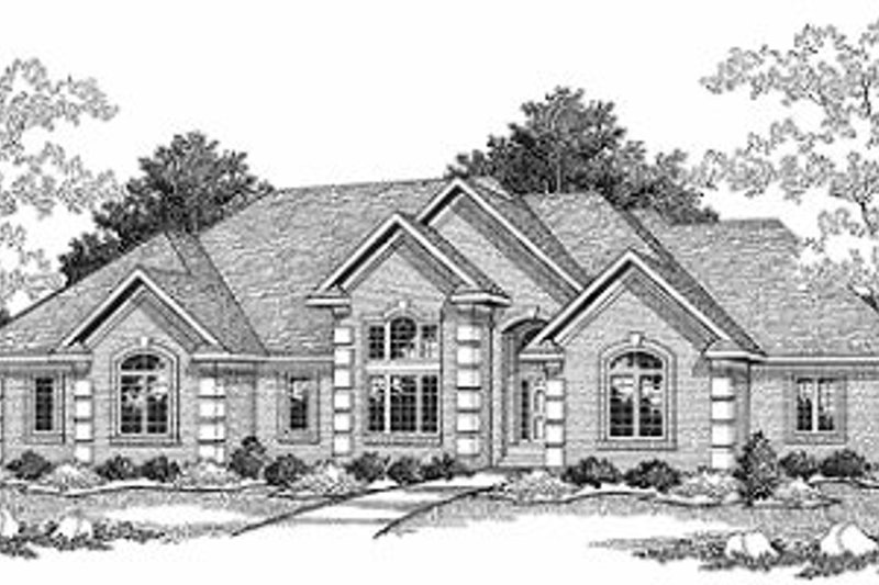 European Style House Plan - 2 Beds 2 Baths 2620 Sq/Ft Plan #70-420 Exterior - Front Elevation